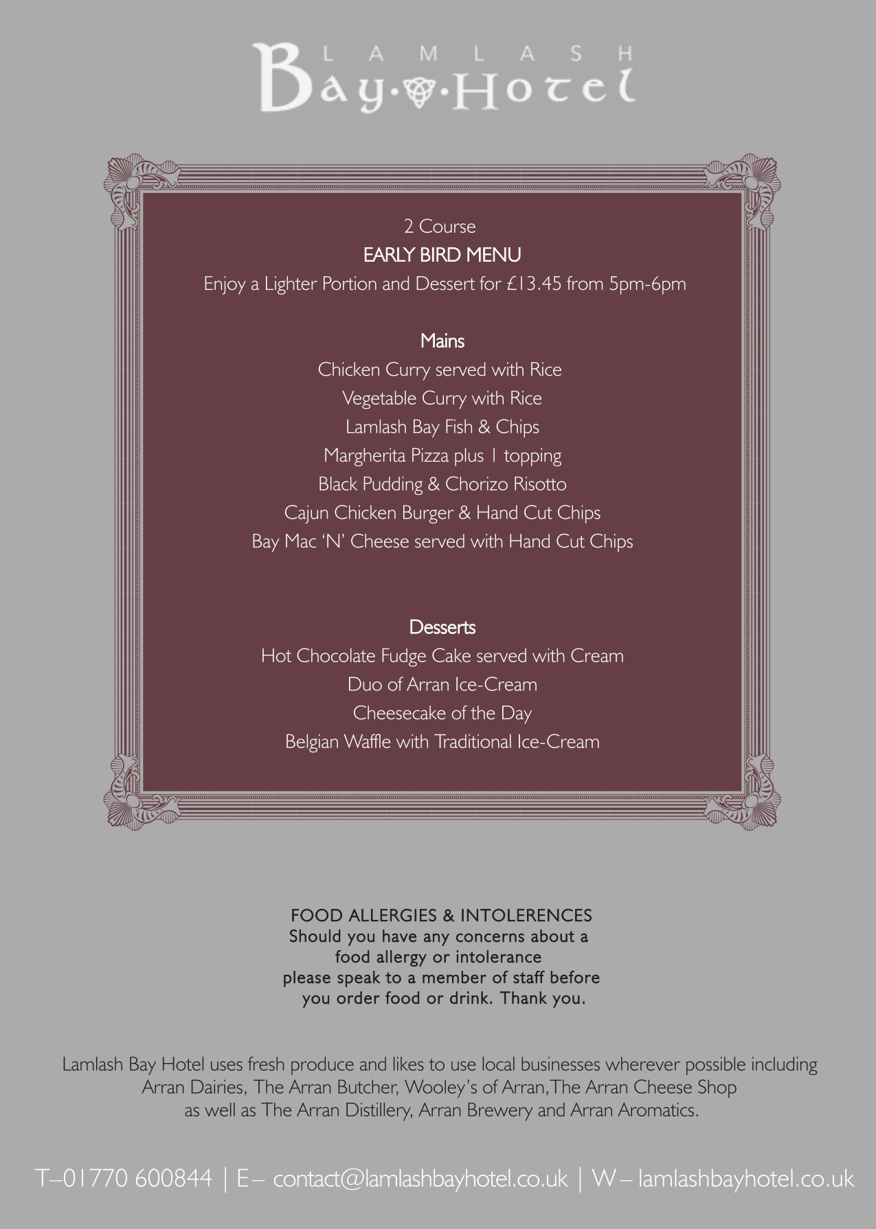 Lamlash Bay Early Bird Menu 2019 screen
