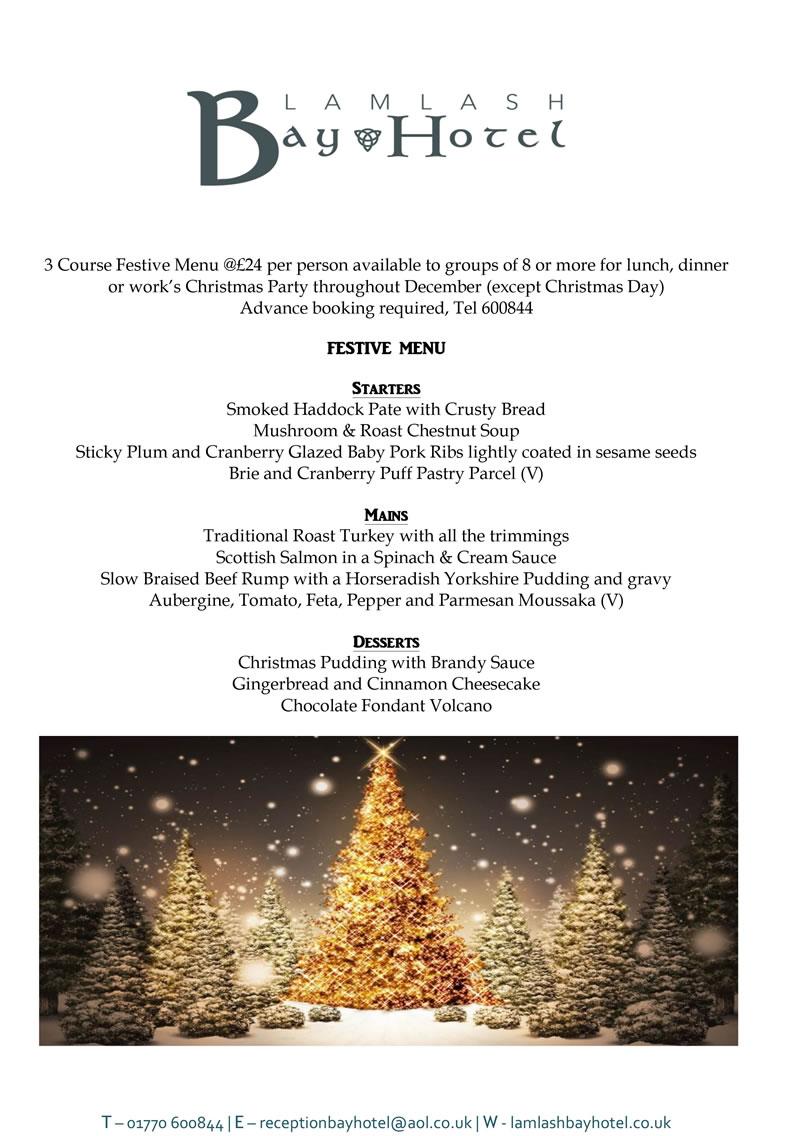 Christmas Menu Lamlash Bay Hotel Isle Of Arran 2019